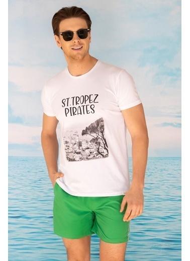 Katia & Bony St Tropez Baskılı Erkek T Shırt - Beyaz Beyaz